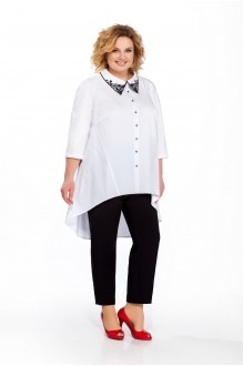 Pretty 859 белая блуза/чёрные брюки