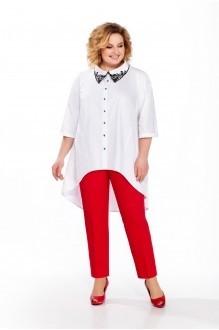 Pretty 859 белая блуза/красные брюки