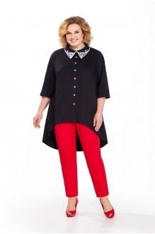 Pretty 859 чёрная блуза/красные брюки