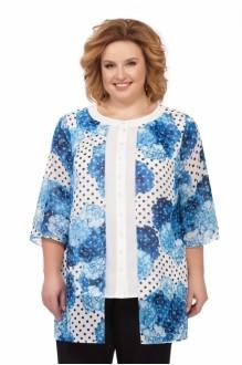 Блузки и туники *Распродажа Pretty 740 синие цветы фото 1