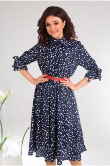 Летние платья Мода-Юрс 2481 тёмно-синий + горох фото 2