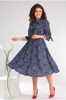 Летние платья Мода-Юрс 2481 тёмно-синий + горох фото 3