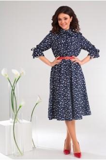 Летние платья Мода-Юрс 2481 тёмно-синий + горох фото 4