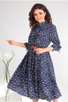 Летние платья Мода-Юрс 2481 тёмно-синий + горох фото 5