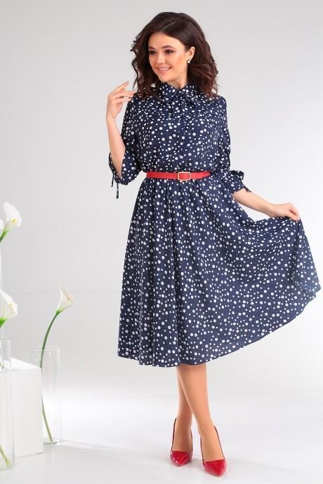 Летние платья Мода-Юрс 2481 тёмно-синий + горох