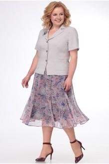 Ладис Лайн 1091 серо-бежевый+юбка принт