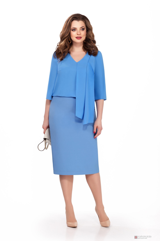 86260ab06d8 Юбочные костюмы  комплекты TEZA 174 голубая блуза голубая юбка