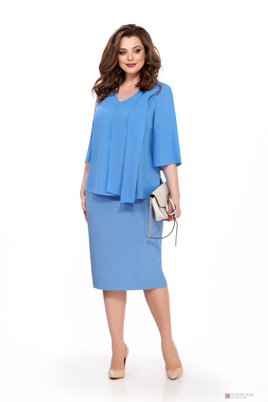 7c04a18a91e ... Юбочные костюмы  комплекты TEZA 174 голубая блуза голубая юбка фото 2  ...