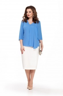 TEZA 174 голубая блуза/белая юбка