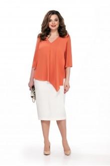 TEZA 174 оранжевая блуза/белая юбка