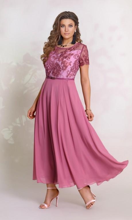 Длинные платья, платья в пол Vittoria Queen 8913 оттенок сиреневого-бордо