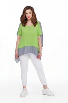 TEZA 191 салатовая блуза/белые брюки