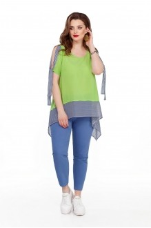 TEZA 191 салатовая блуза/голубые брюки