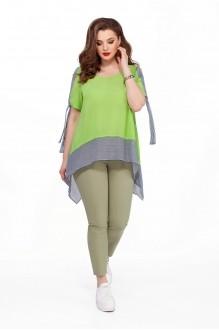 TEZA 191 салатовая блуза/брюки хаки