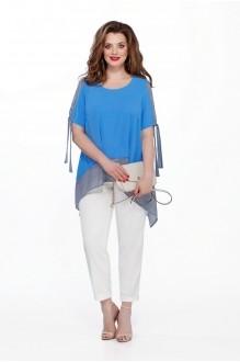 TEZA 198 голубая блуза/белые брюки