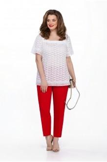 TEZA 201 белая туника/красные брюки