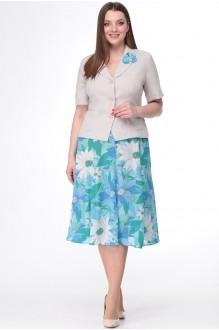 Ладис Лайн 1091 серо-бежевый+ голубая юбка