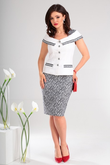 Юбочные костюмы /комплекты Мода-Юрс 2022 черный + белый узор 2