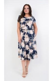 *Распродажа TricoTex Style 14-19  на синем фоне пудровые цветы
