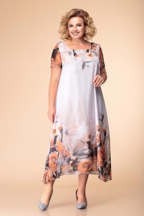 Romanovich Style 1-1332 пудра и оранжевые цветы