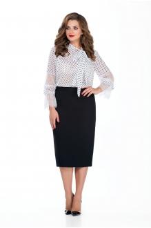TEZA 135 блуза в горох/ чёрная юбка
