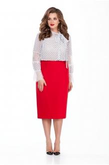 135 блуза в горох/красная юбка
