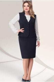 *Распродажа LeNata 31922 тёмно-синий с белой блузой в синий горошек