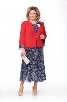 Ликвидация Pretty 848 жакет красный/платье синее в горошек