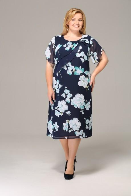 Летнее платье Орхидея Люкс 650 темно-синий с цветами