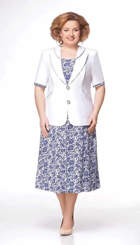 Юбочные костюмы /комплекты Aira Style 475 белый/синий