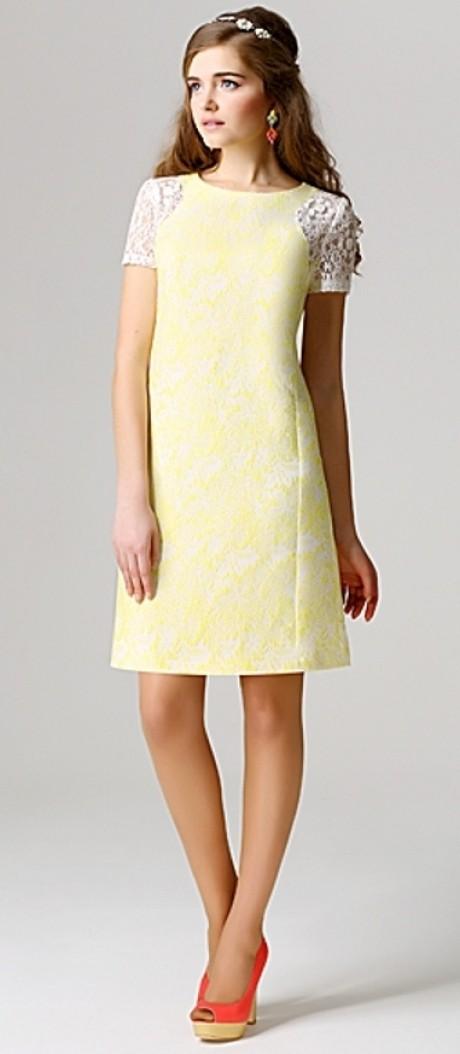 Вечерние платья Модная страна 3.0394 желто-белый