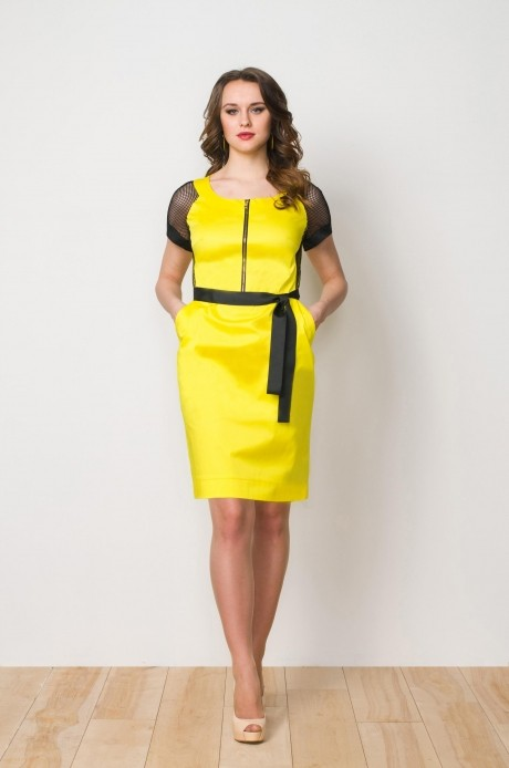 Летние платья Gold Style 1922 желтый/темно-синий