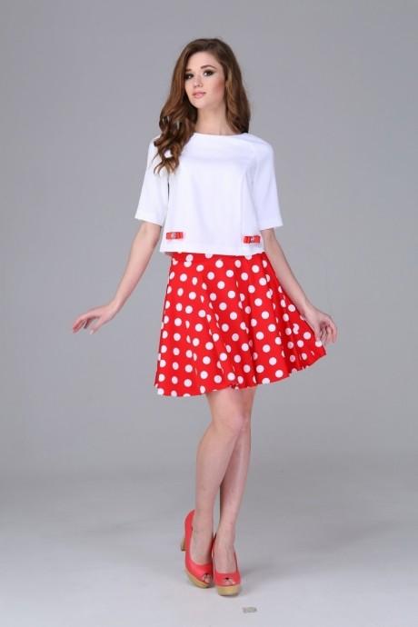 Юбочные костюмы /комплекты Arita Style (Denissa) 943 красный+белый