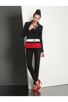 Брючные костюмы /комплекты Твой Имидж 4031 черно-красный фото 1