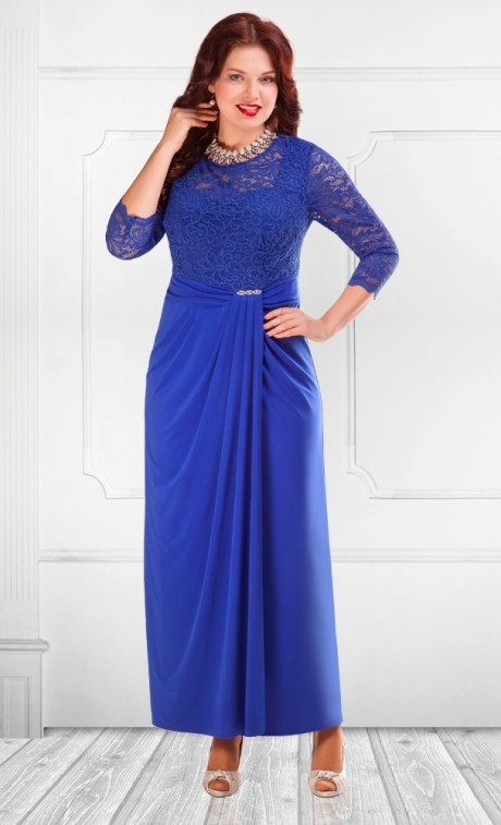 Длинные платья Camelia 15221 василек