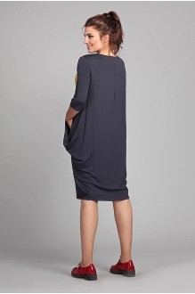 Повседневные платья Мублиз 007 графит + горчица фото 2