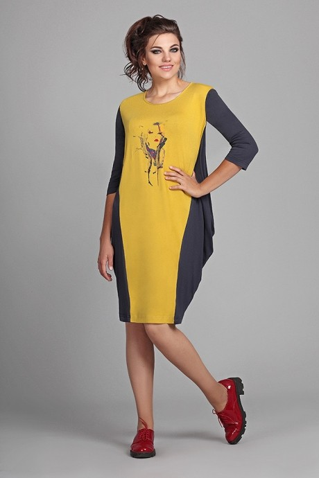 Повседневные платья Мублиз 007 графит + горчица