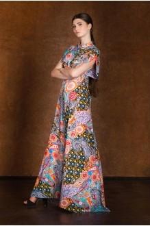 Длинные платья Rosheli 127/3 оранжевый/огурцы фото 1