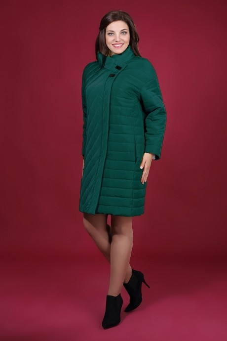 Пальто Магия Моды 964 изумруд/полосы