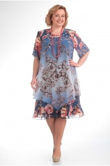 Летние платья Прити 242 синий градиент/вензеля фото 1