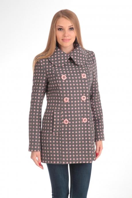 Пальто Diomant 1103 серый/розовый горох