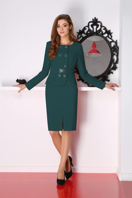 Юбочные костюмы /комплекты LeNata 21704 темно-зеленый