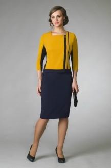 Юбочные костюмы /комплекты Gold Style 1955 горчица/т.синий фото 1