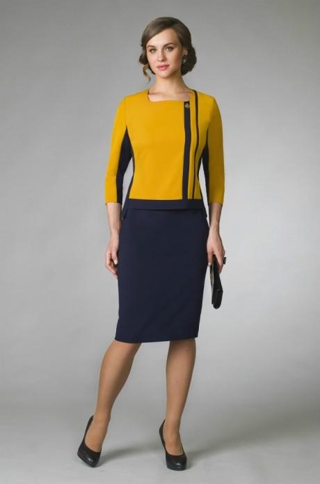 Юбочные костюмы /комплекты Gold Style 1955 горчица/т.синий