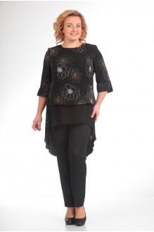 Брючные костюмы /комплекты Надин-Н 1314_6 чёрный/цветы фото 1
