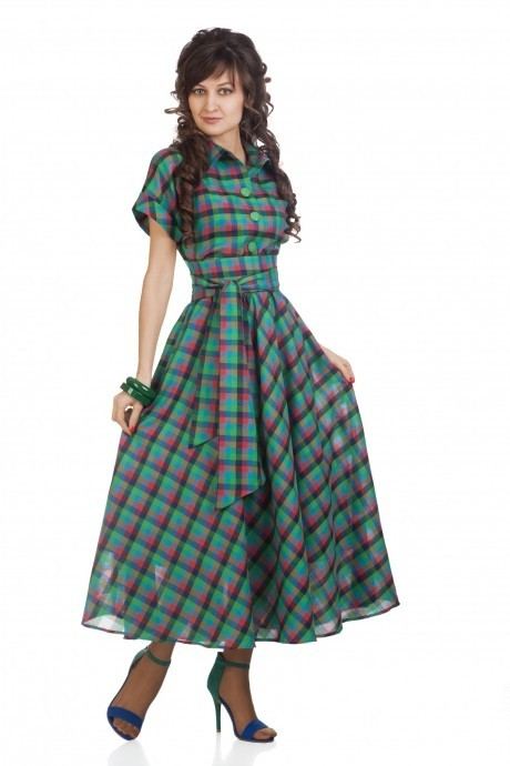 Длинные платья Elpaiz 085 зеленая клетка