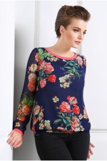 Блузки и туники DiLiaFashion 0025-1 цветы на синем фото 1
