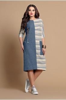 Летние платья Мублиз 089 полоска персик фото 1